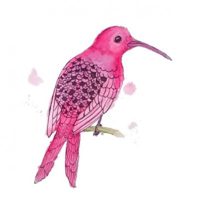 Strange Bird 3: Motionless Magenta Hummingbird by Linda Ursin