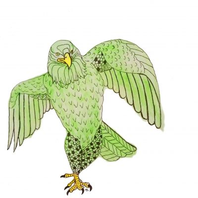 Strange Birds 4: Strutting Eagle in Green by Linda Ursin