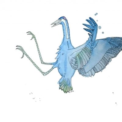 Strange Bird 8: Green & Blue Kung Fu Crane by Linda Ursin