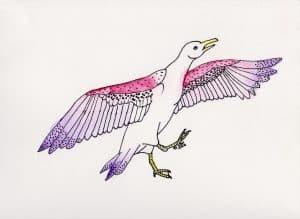 Strange Bird 9: Stylish Spotted Seagull by Linda Ursin