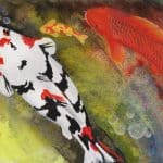 Playful painting of colorful koi fish swimming in a pond