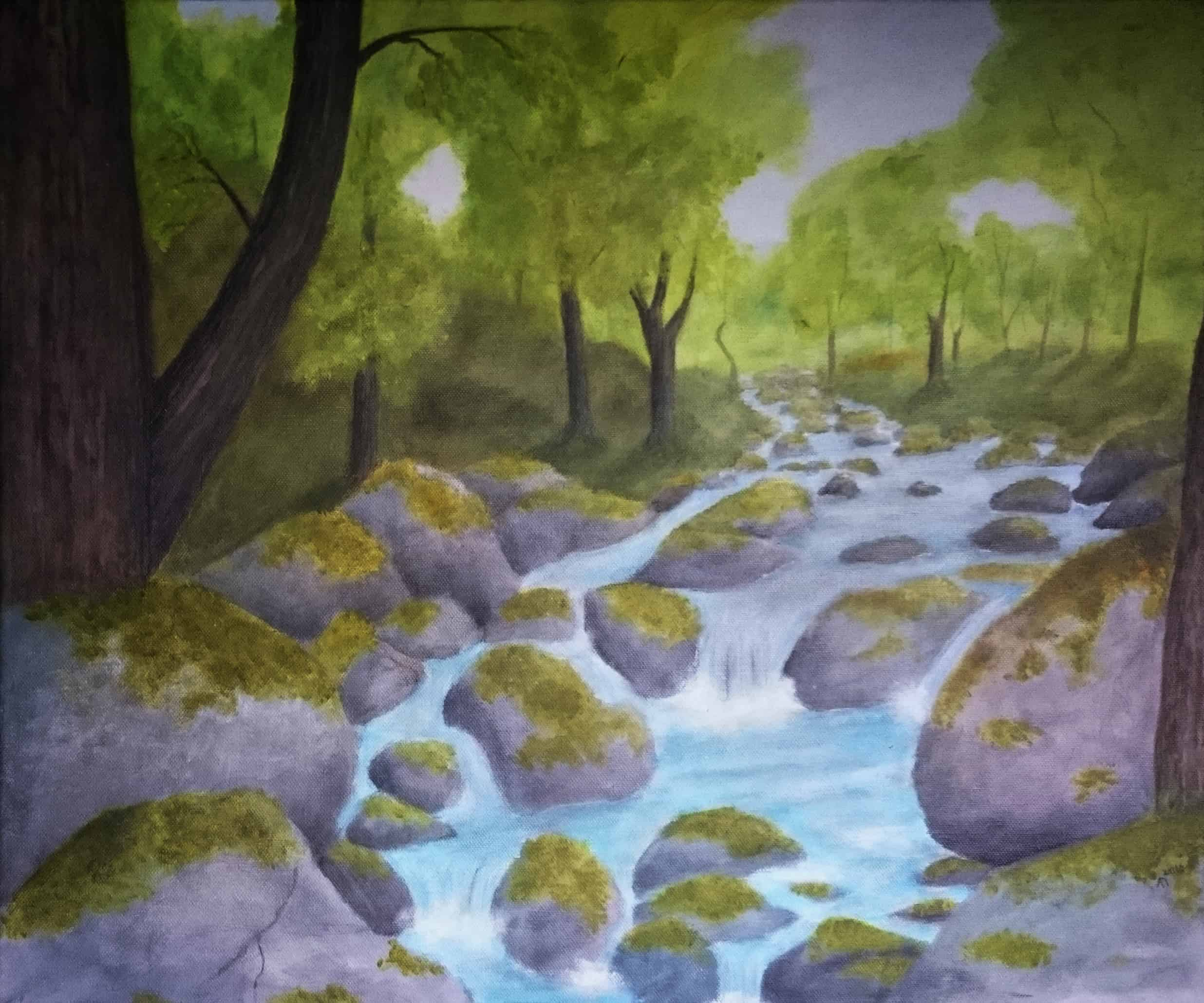 Alfheim - Mythological landscape in acrylics by Linda Ursin