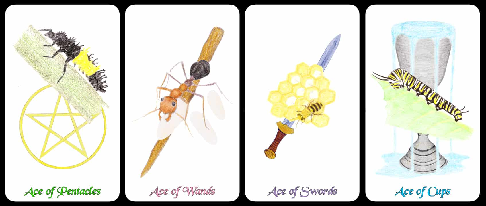 The Aces - The Arthropoda Tarot Deck by Linda Ursin