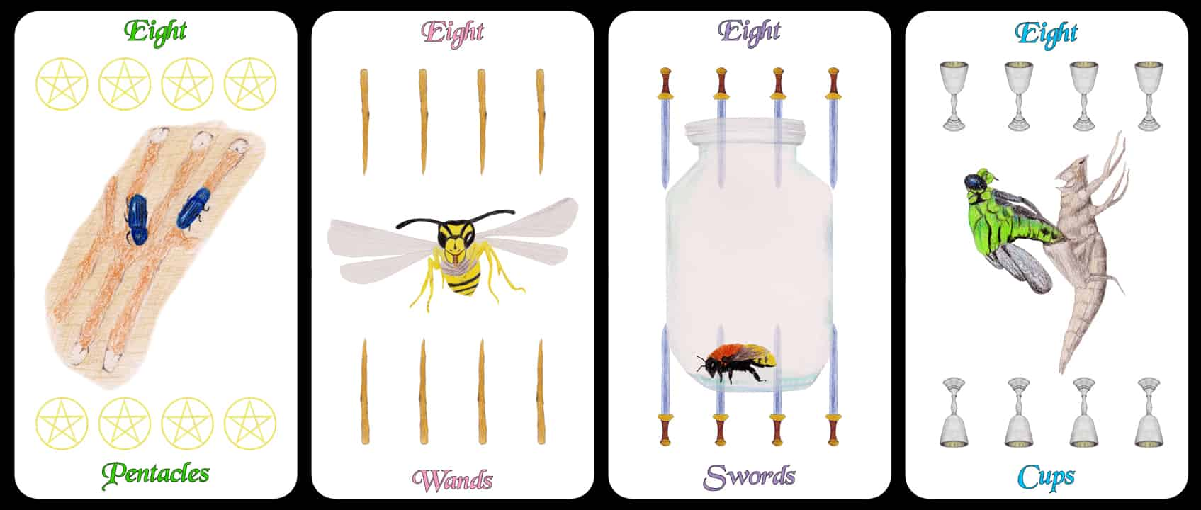 The Eights - The Arthropoda Tarot Deck by Linda Ursin