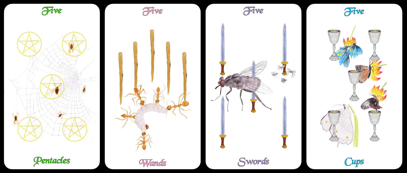 The Fives - The Arthropoda Tarot Deck by Linda Ursin