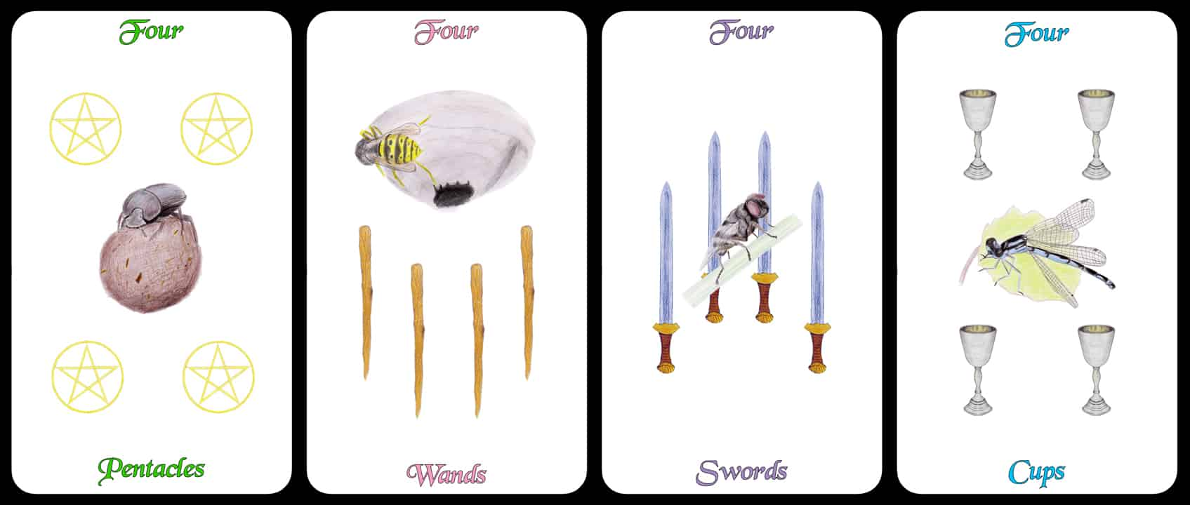 The Fours - The Arthropoda Tarot Deck by Linda Ursin