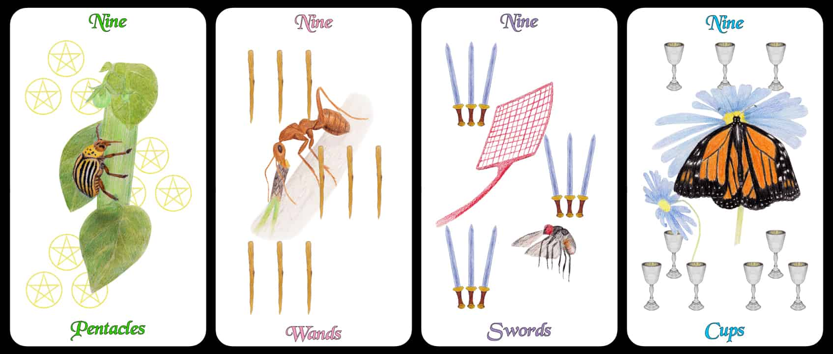 The Nines - The Arthropoda Tarot Deck by Linda Ursin
