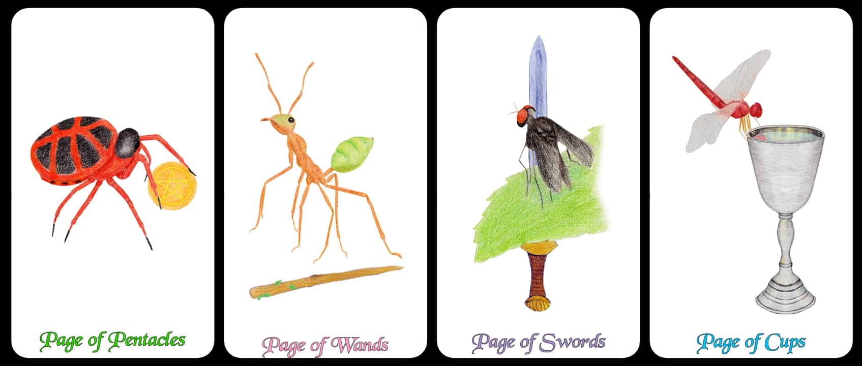 The Pages - The Arthropoda Tarot Deck by Linda Ursin