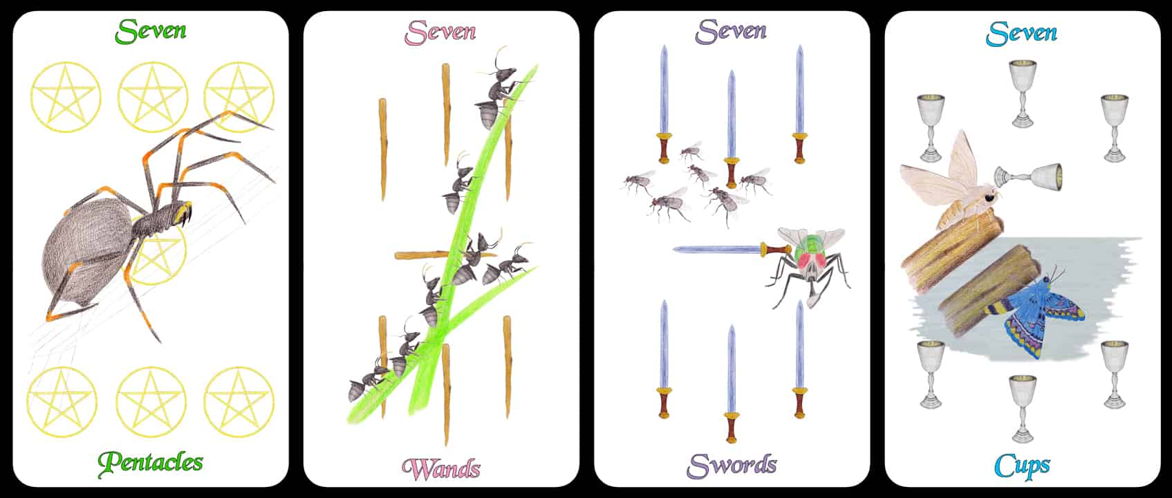 The Sevens - The Arthropoda Tarot Deck by Linda Ursin