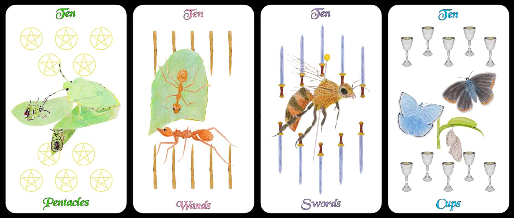 The Tens - The Arthropoda Tarot Deck by Linda Ursin