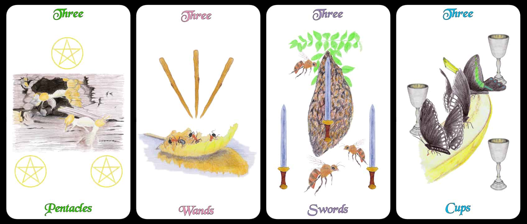 The Threes - The Arthropoda Tarot Deck by Linda Ursin