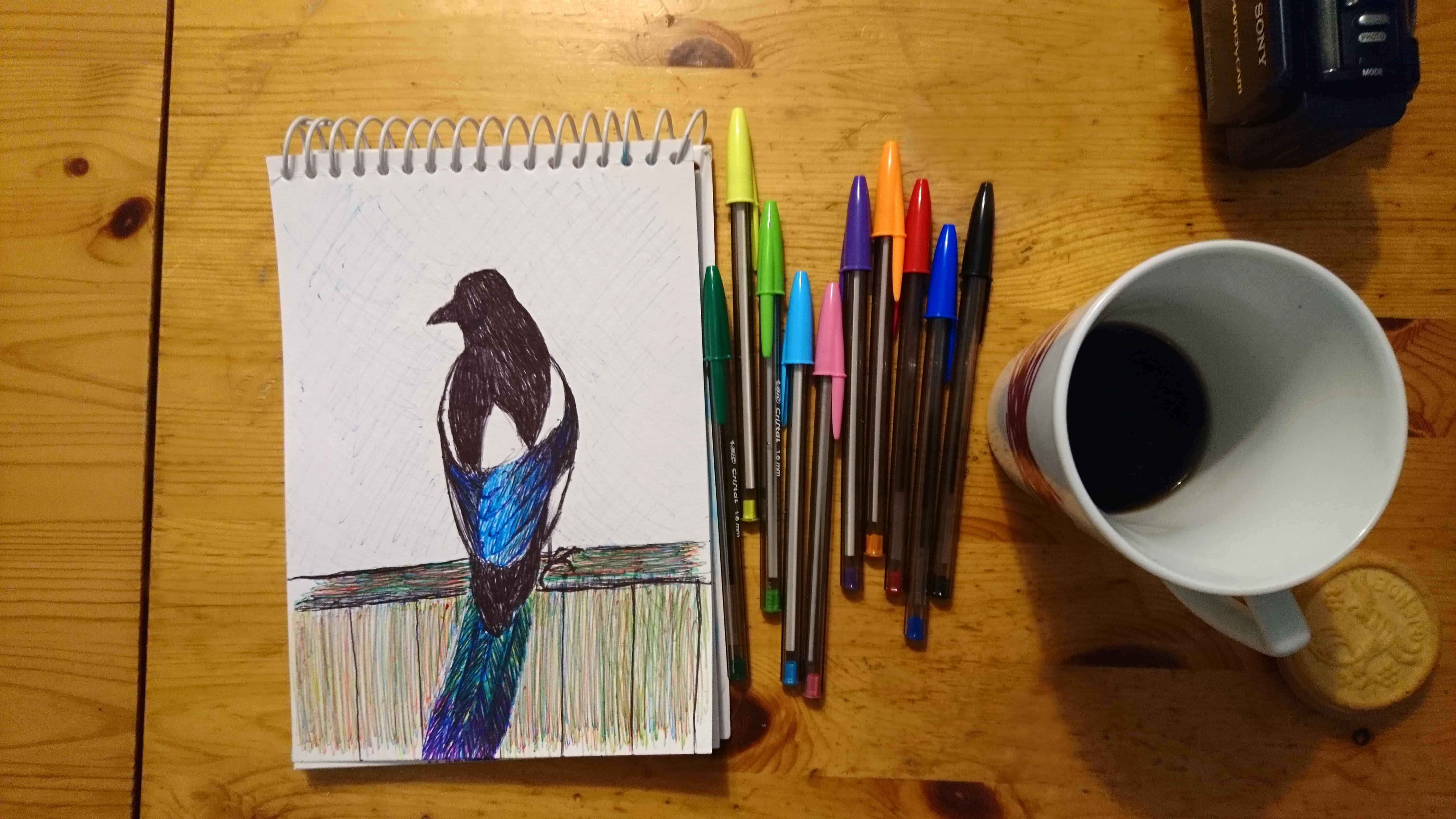 Magpie Drawing Created With Ballpoint Pens