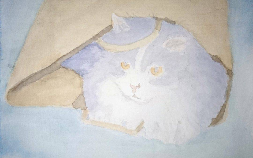 WIP the First Sketch for the 'Weird Cats' Series of Paintings