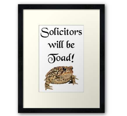 Solicitors will be toad - framed