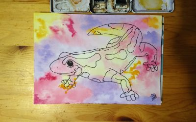 What Do You Think of This Colorful Salamander in Watercolor?