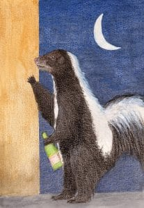 """An illustration of the idiom """"Drunk as a Skunk"""""""
