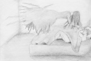 A pencil sketch of the Mara from folklore