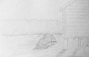 A pencil sketch of the Kvernknurr from folklore