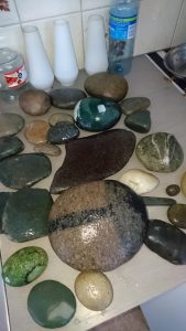 Drying the stones before painting them