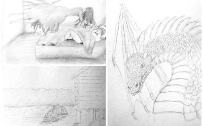 The first sketches for the Creatures of Folklore series