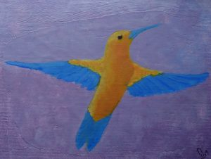An acrylic paiting of a bird in random colors