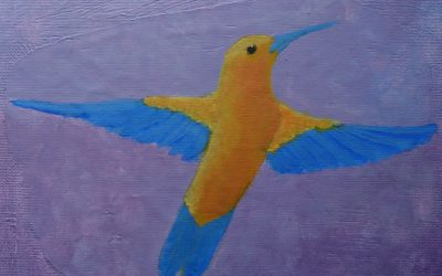 An Acrylic Painting of a Bird in Random Colors