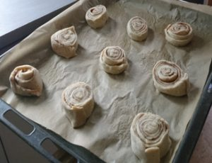 Cinnamon buns in progress